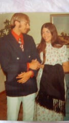 Alan and Linda Begbie in 1971 in Upland, Indiana at Linda's parents' house.