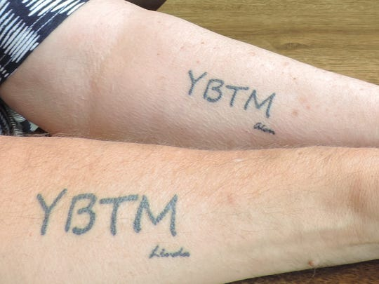 Close up of Alan and Linda Begbie's matching tattoos. The pair got these a couple months after being married in 2015. They consider each other soulmates.