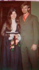 Linda and Alan Begbie attending a friend's wedding in 1971.