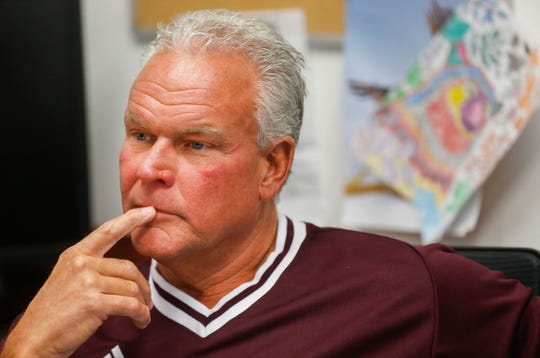 Missouri State University head football coach Dave Steckel answers questions during an interview in his office at the university.