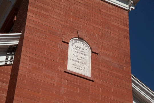 """""""Holiness to the Lord. Commenced A.D. 1863. Completed A.D. 1871"""" is inscribed on the wall of the St. George Tabernacle. It was rededicated on July 28, 2018."""
