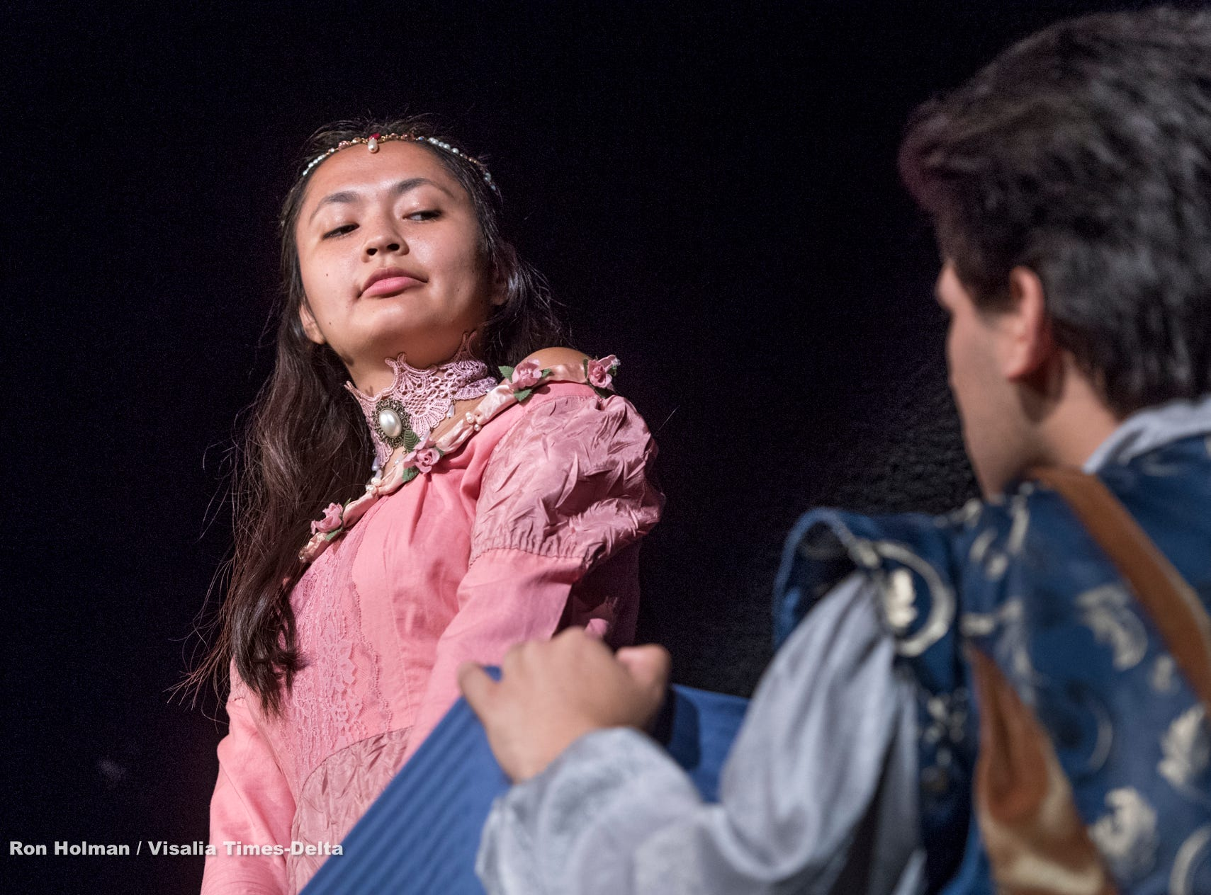 Isabella O'Keeffe, left, and Mason Garcia rehearse for Visalia Players' production of Shakespeare in Love at the Ice House Theater on Monday, July 23, 2018.