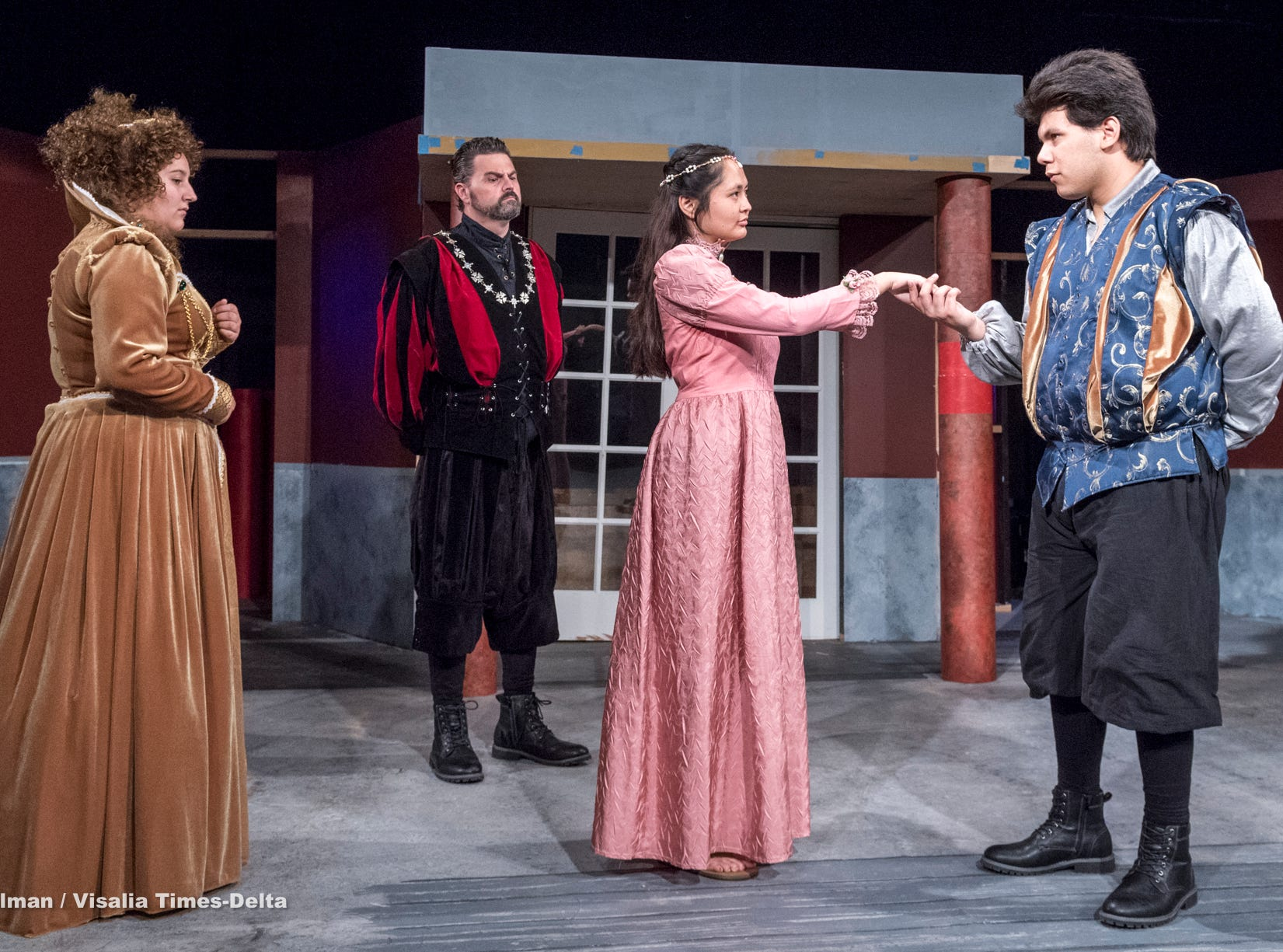 Mason Garcia, right, Isabella O'Keeffe, Michael Taber and Anyssa Vasquez rehearse for Visalia Players' production of Shakespeare in Love at the Ice House Theater on Monday, July 23, 2018.