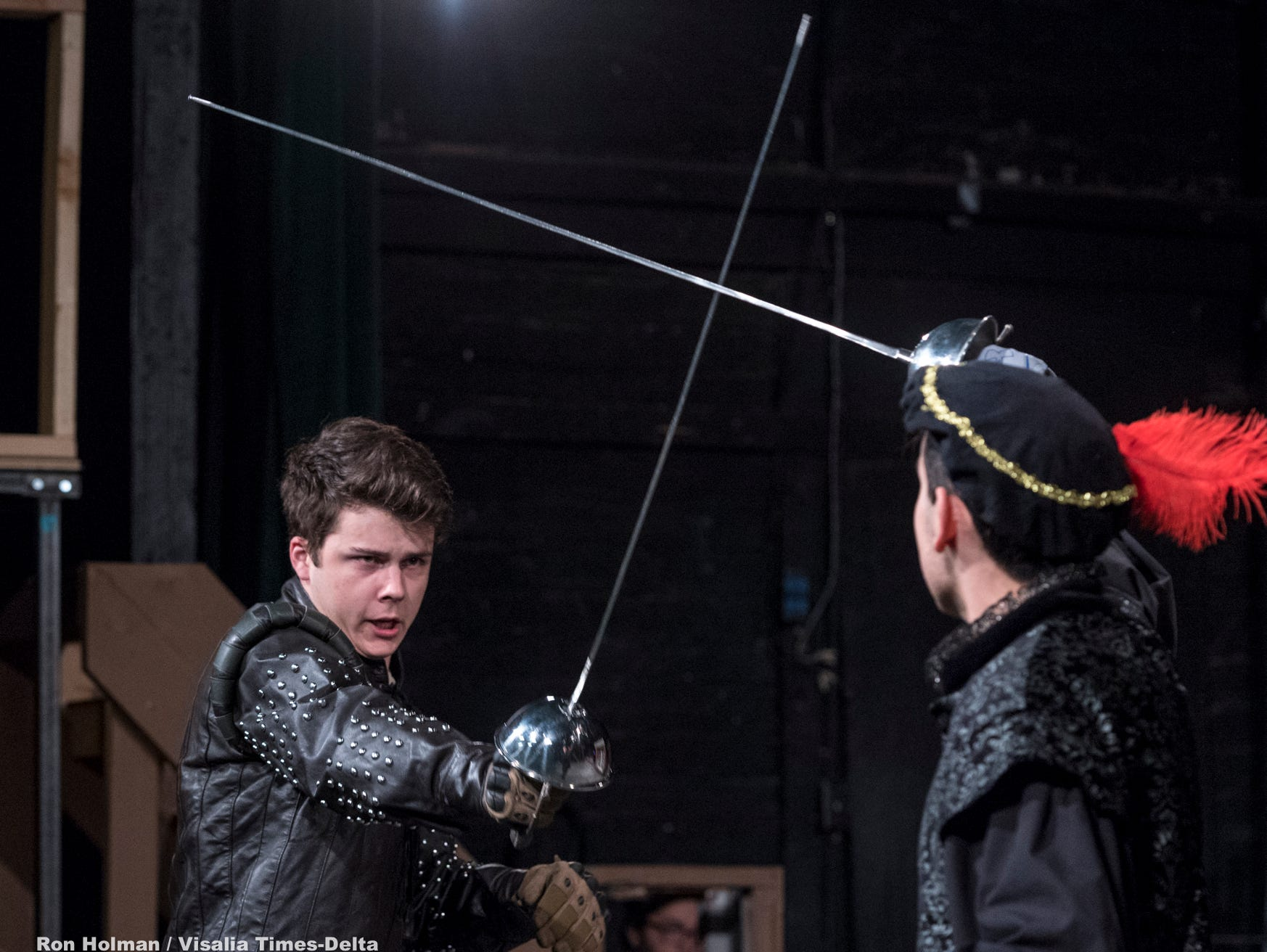 Nick Ray, left, and Dominic Chapa rehearse for Visalia Players' production of Shakespeare in Love at the Ice House Theater on Monday, July 23, 2018.