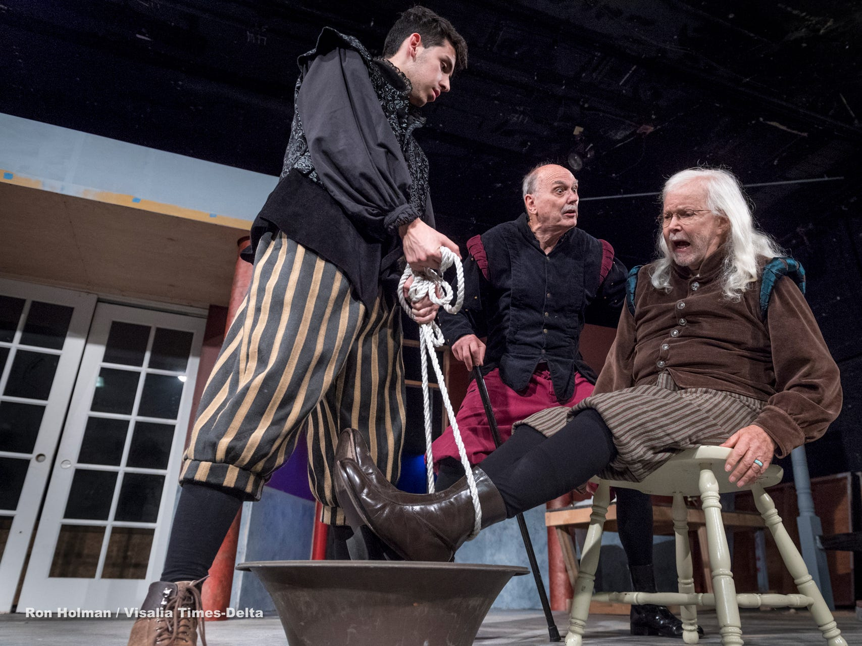 Dominic Chapa, left, Keith Lindersmith and Donny Graham rehearse for Visalia Players' production of Shakespeare in Love at the Ice House Theater on Monday, July 23, 2018.