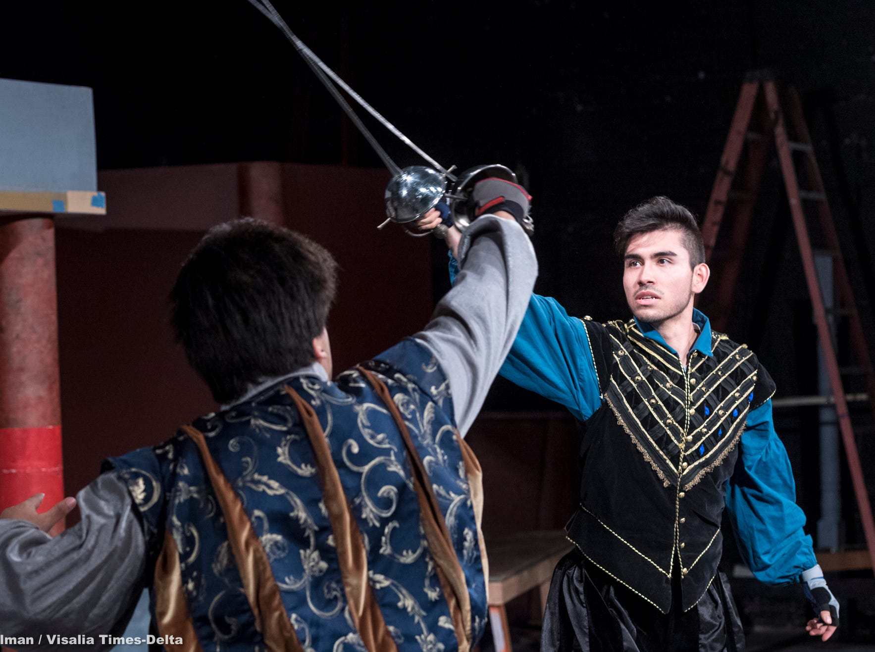Alex Quezada, right, and Mason Garcia rehearse for Visalia Players' production of Shakespeare in Love at the Ice House Theater on Monday, July 23, 2018.