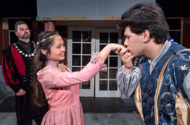 Mason Garcia, right, Isabella O'Keeffe and Michael Taber rehearse for Visalia Players' production of Shakespeare in Love at the Ice House Theater on Monday, July 23, 2018.