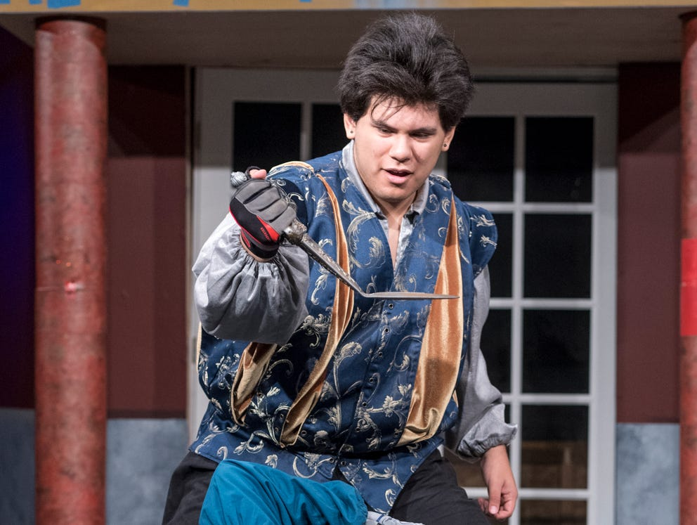 Mason Garcia, top, and Alex Quezada rehearse for Visalia Players' production of Shakespeare in Love at the Ice House Theater on Monday, July 23, 2018.
