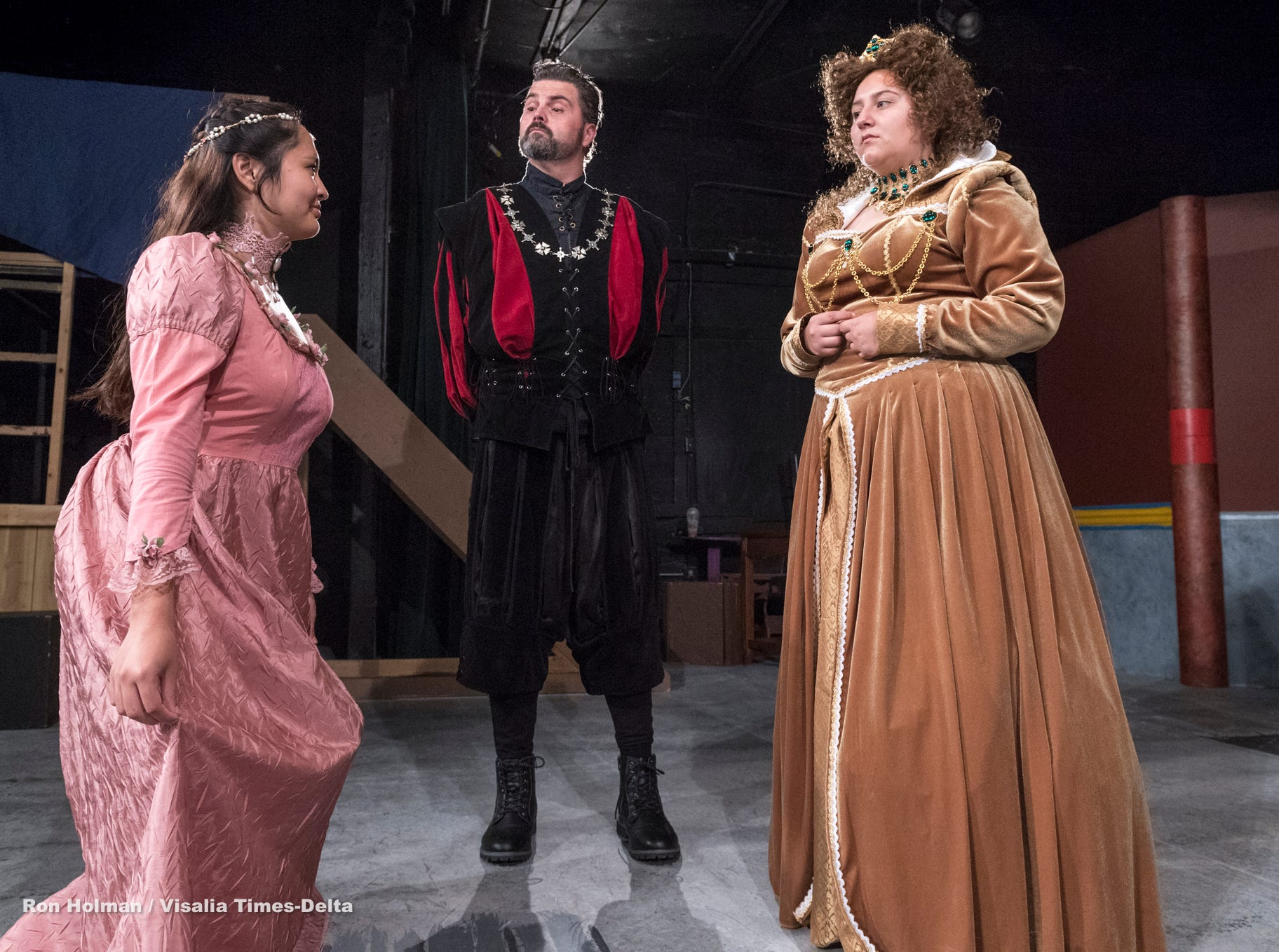 Isabella O'Keeffe, left, Michael Taber and Anyssa Vasquez rehearse for Visalia Players' production of Shakespeare in Love at the Ice House Theater on Monday, July 23, 2018.