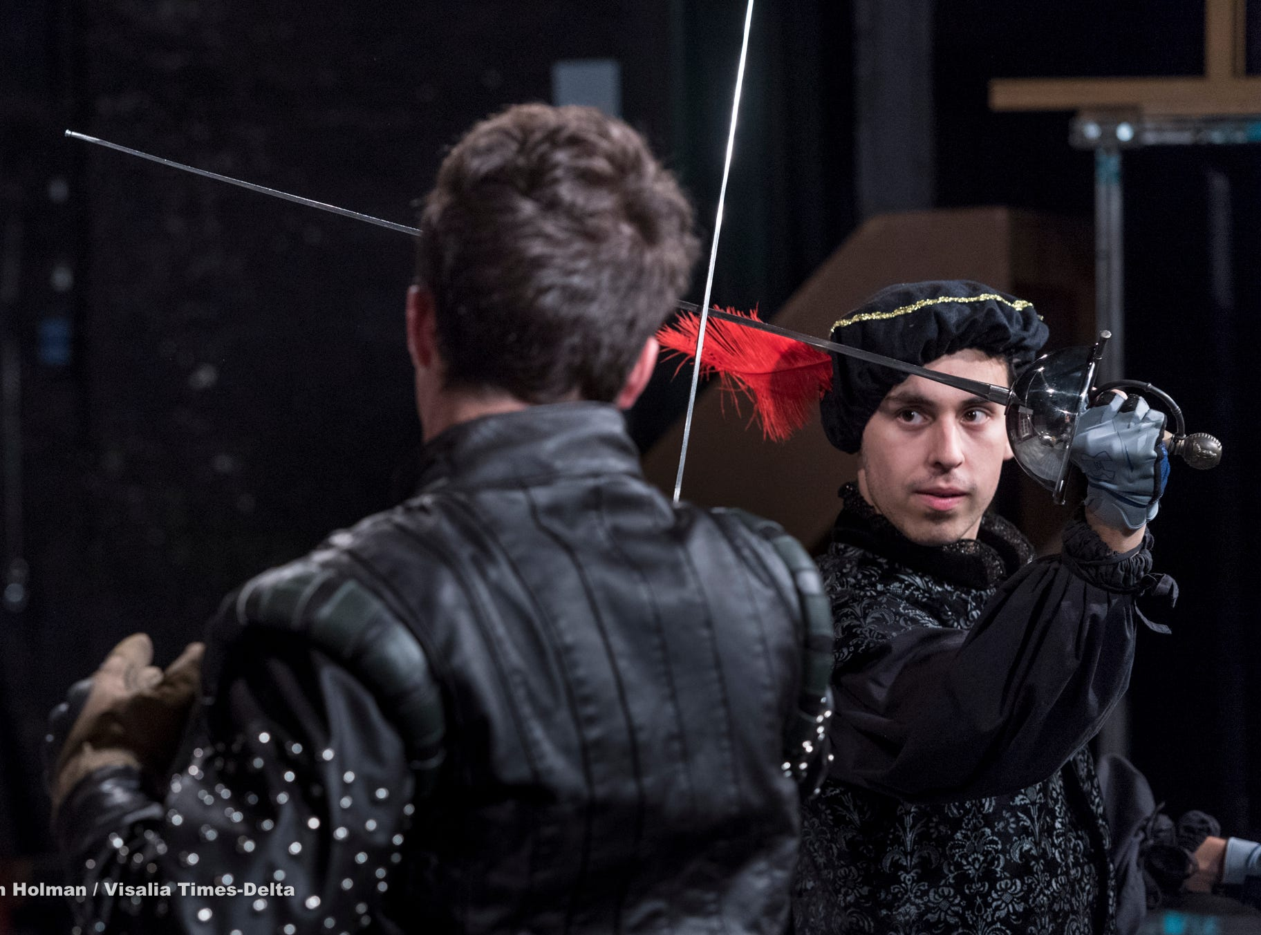 Dominic Chapa, right, and Nick Ray rehearse for Visalia Players' production of Shakespeare in Love at the Ice House Theater on Monday, July 23, 2018.