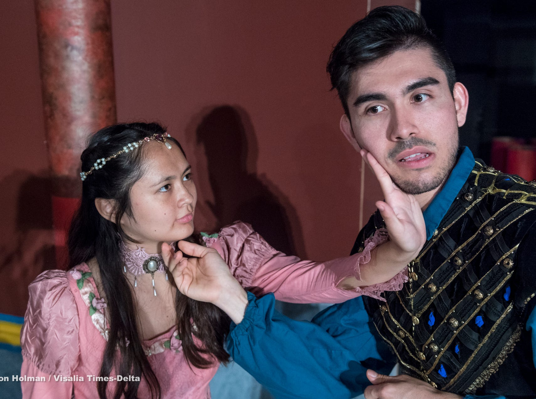 Isabella O'Keeffe, left, and Alex Quezada rehearse for Visalia Players' production of Shakespeare in Love at the Ice House Theater on Monday, July 23, 2018.