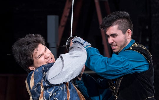 Mason Garcia, left, and Alex Quezada rehearse for Visalia Players' production of Shakespeare in Love at the Ice House Theater on Monday, July 23, 2018.
