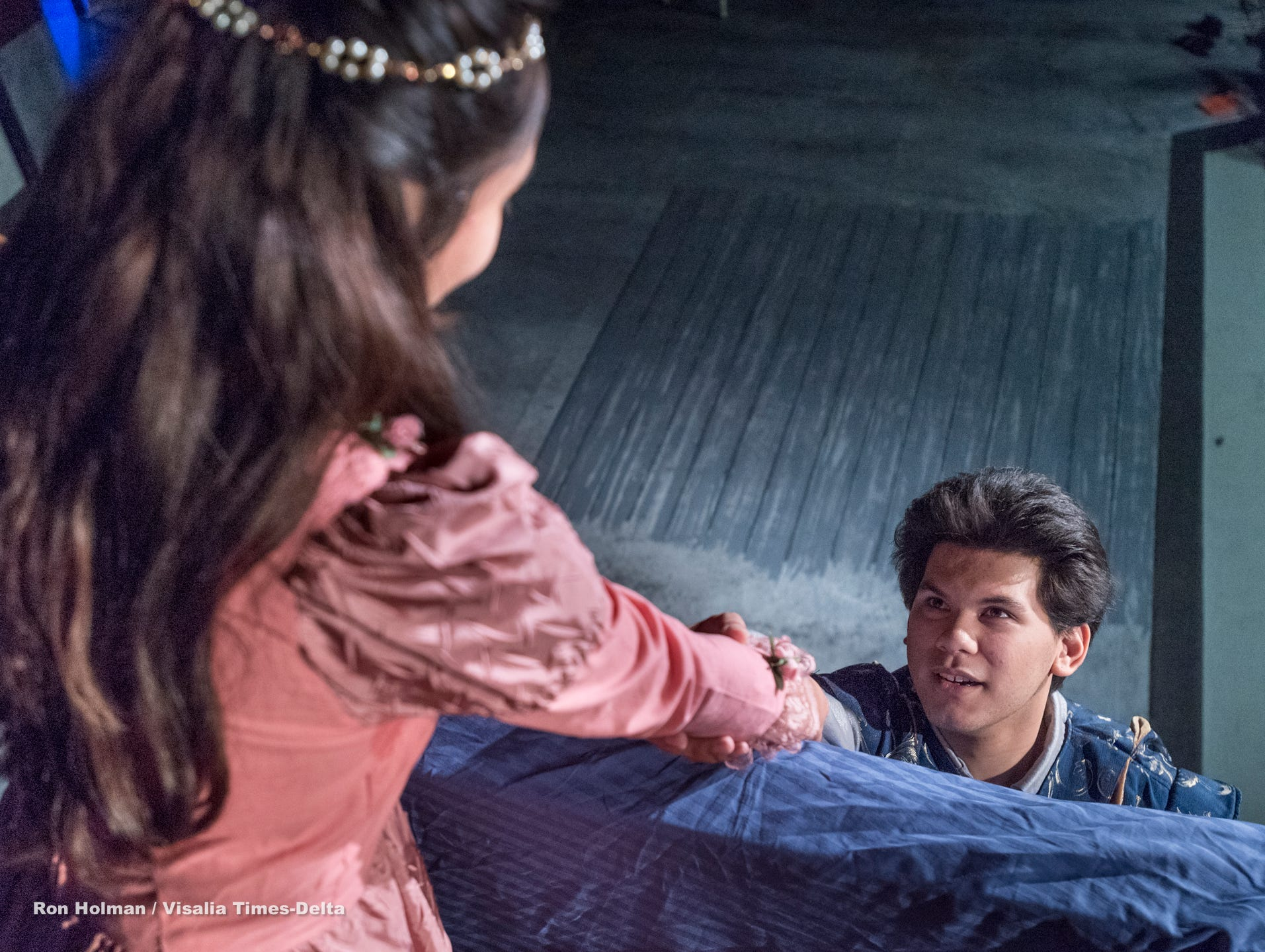 Mason Garcia, right, and Isabella O'Keeffe rehearse for Visalia Players' production of Shakespeare in Love at the Ice House Theater on Monday, July 23, 2018.