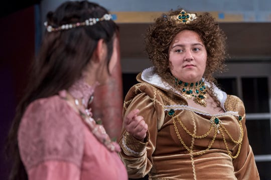 Anyssa Vasquez, right, and Isabella O'Keeffe rehearse for Visalia Players' production of Shakespeare in Love at the Ice House Theater on Monday, July 23, 2018.
