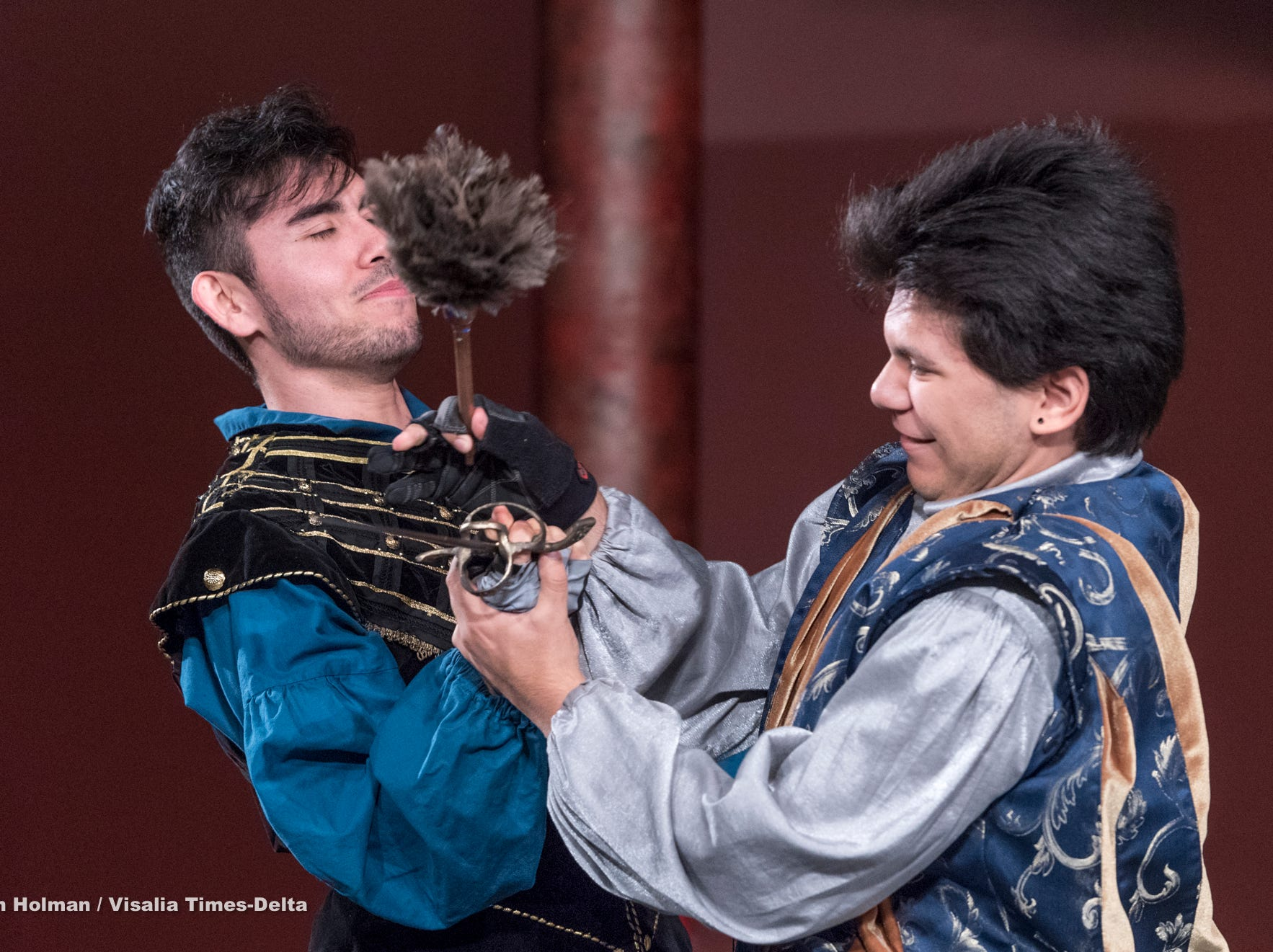 Alex Quezada, left, and Mason Garcia rehearse for Visalia Players' production of Shakespeare in Love at the Ice House Theater on Monday, July 23, 2018.