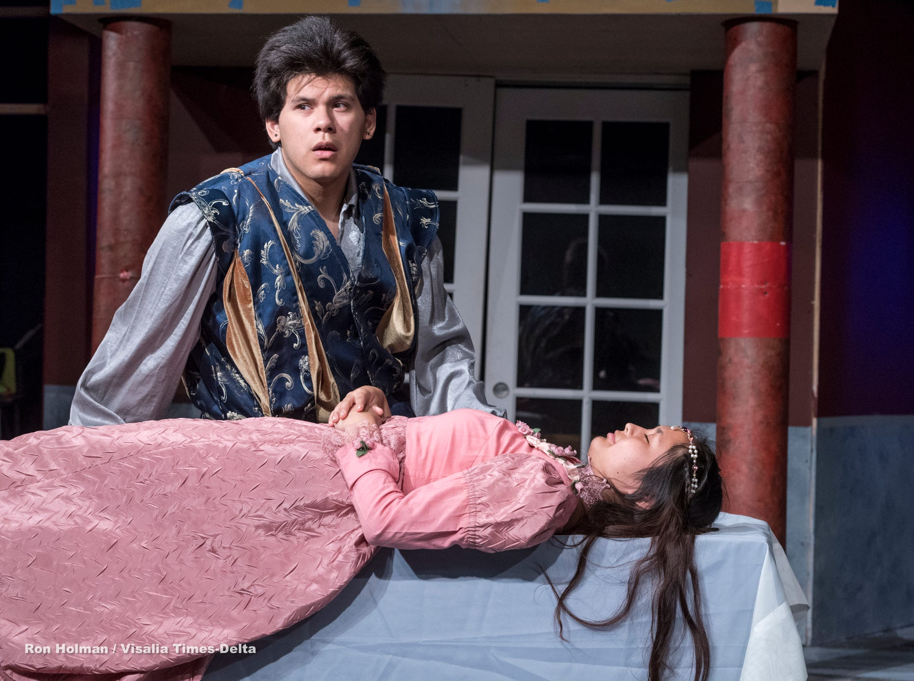 Mason Garcia, left, and Isabella O'Keeffe rehearse for Visalia Players' production of Shakespeare in Love at the Ice House Theater on Monday, July 23, 2018.
