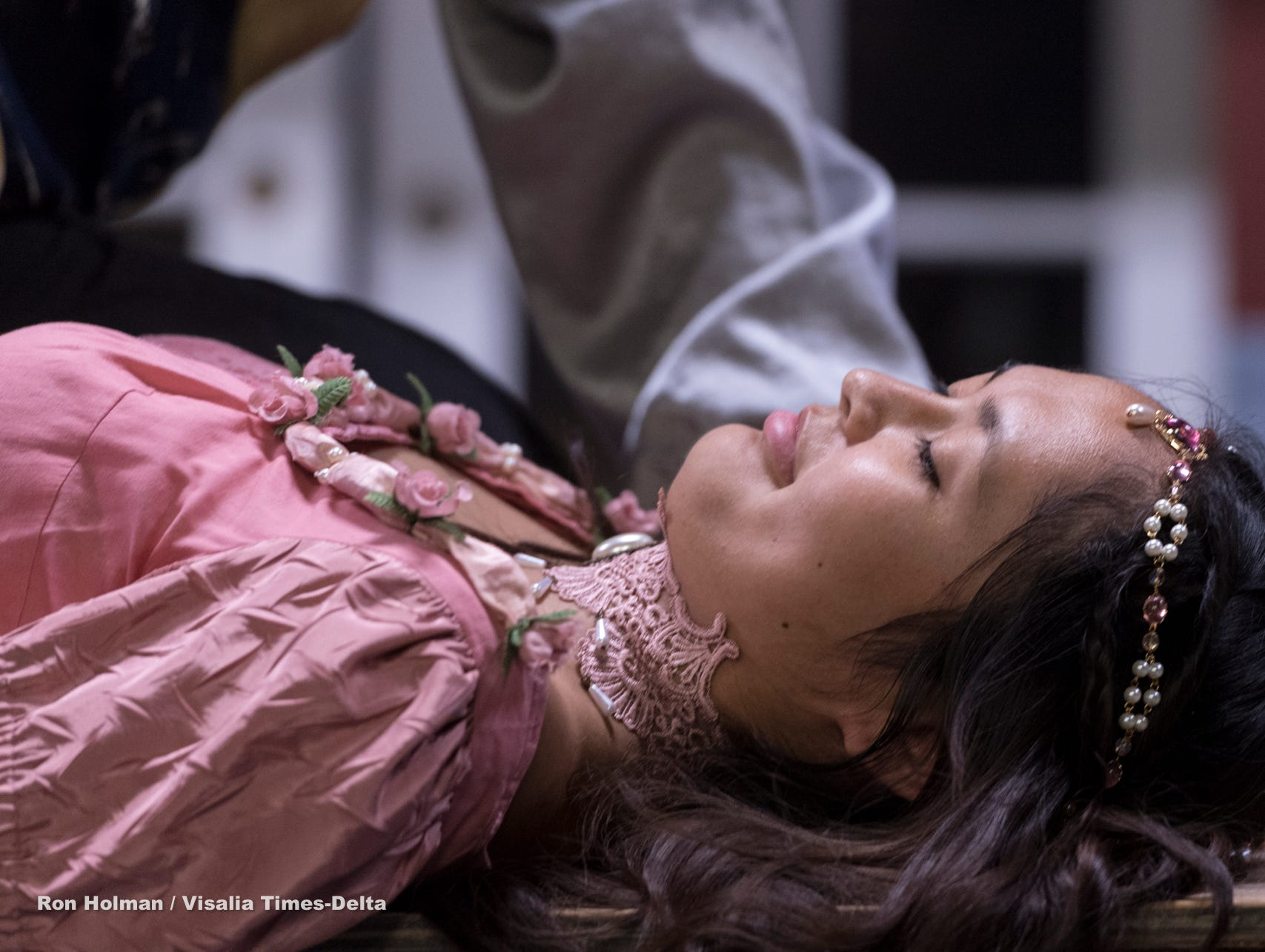 Isabella O'Keeffe rehearses for Visalia Players' production of Shakespeare in Love at the Ice House Theater on Monday, July 23, 2018.