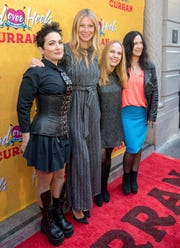 From left, The Go-Go's Jane Wiedlin, Gwyneth Paltrow, Charlotte Caffey and Kathy Valentine arrive at The Curran Theater to see Head Over Heels on April 18 in San Francisco. Head Over Heels is the new musical comedy featuring the iconic songs of The Go-Go's.
