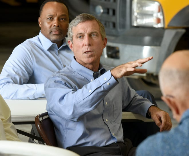 """Gov. John Carney asks Brent Willin about how the farmer uses the internet to run his operation west of Seaford. Carney last month set a goal for the state to eliminate broadband internet """"deserts"""" in rural Kent and Sussex counties by 2020."""