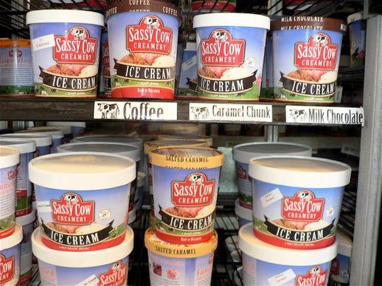 Sassy Cow ice cream comes in half gallon, quart and three gallon containers.