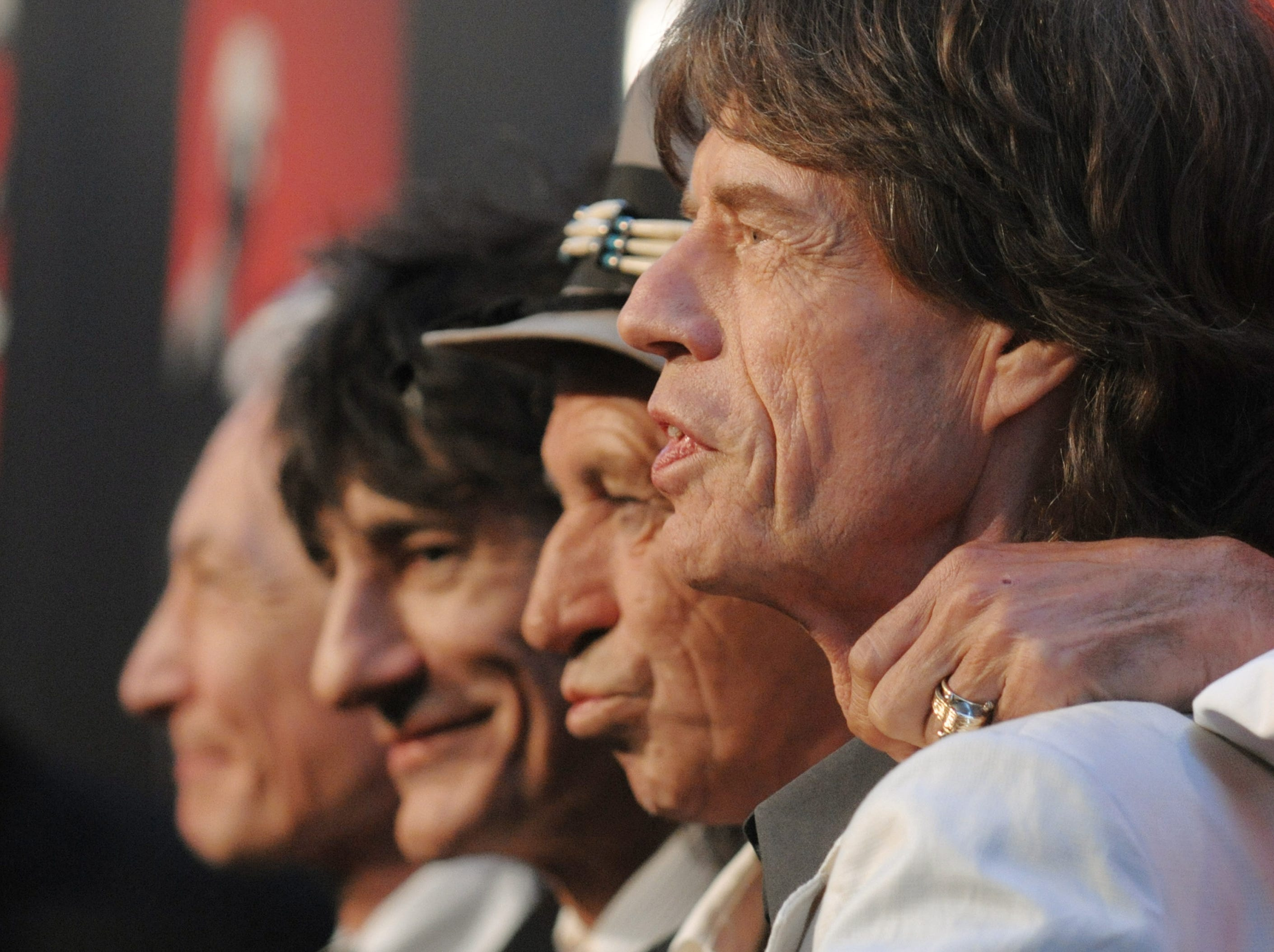 "From left, Charlie Watts, Ronnie Wood, Keith Richards and Mick Jagger of The Rolling Stones attend the premiere of ""Shine A Light"" featuring The Rolling Stones, at the Ziegfeld Theater, Sunday, March 30, 2008, in New York. (AP Photo/Evan Agostini) ORG XMIT: NYEA126"