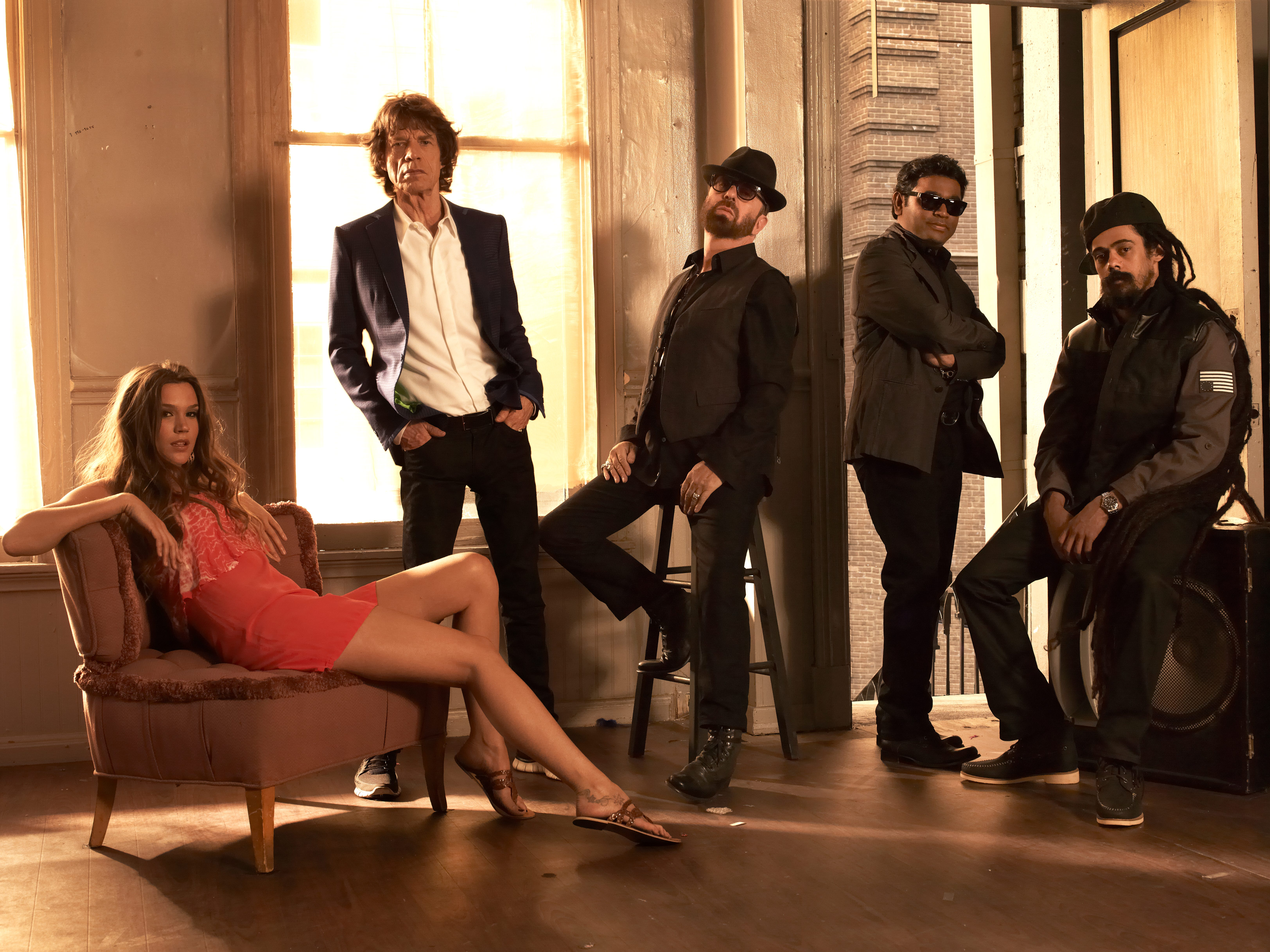 SUPERHEAVY -- Joss Stone, lefft, Mick Jagger, Dave Stewart, A.R. Rahman and Damian Marley.  HANDOUT photo by Kristin Burns [Via MerlinFTP Drop]