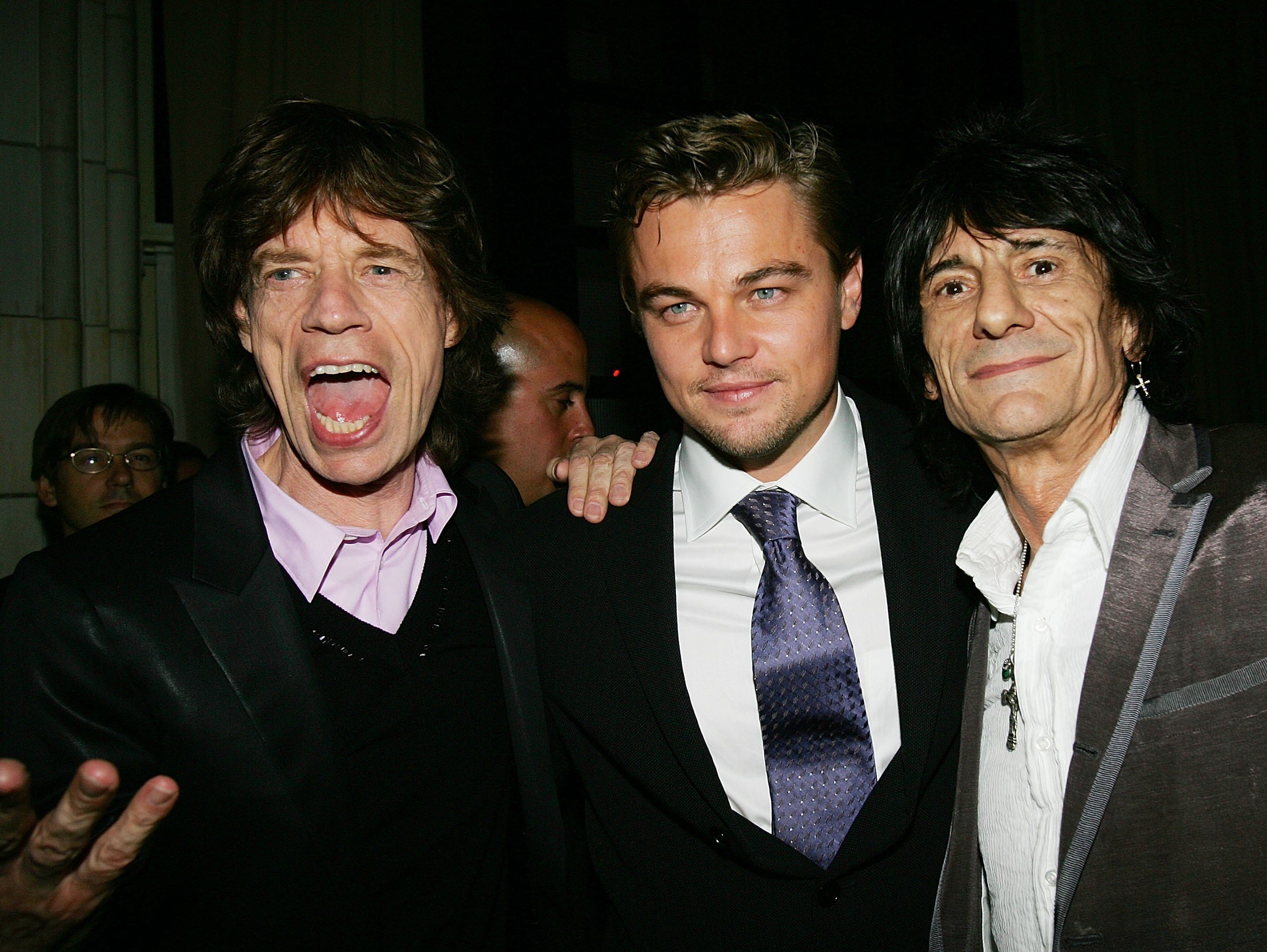 "NEW YORK - SEPTEMBER 26:  Rockers Mick Jagger (L) and Ronnie Wood (R) chat with actor Leonardo DiCaprio (C) at the ""The Departed"" film premiere after party at Guastivino's September 26, 2006 in New York City.  (Photo by Evan Agostini/Getty Images) *** Local Caption *** Mick Jagger;Leonardo DiCaprio;Ronnie Wood ORG XMIT: 71973364 GTY ID: 73364EA004_Warner_Bros_P"