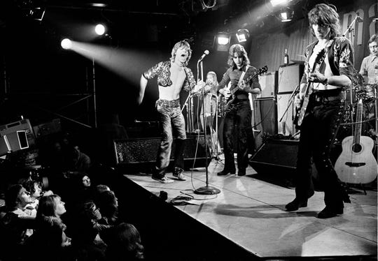 This March 26, 1971 file photo shows British rock and roll band The Rolling Stones during their farewell performance at London's Marquee Club, in London.