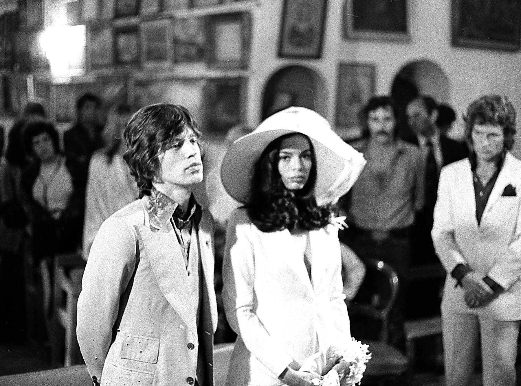 Rolling Stones singer, Mick Jagger and his bride, Bianca Perez-Mora Macias, are shown during their wedding in the Sainte-Anne chapel in Saint Tropez, on May 12, 1971.  (AP Photo)
