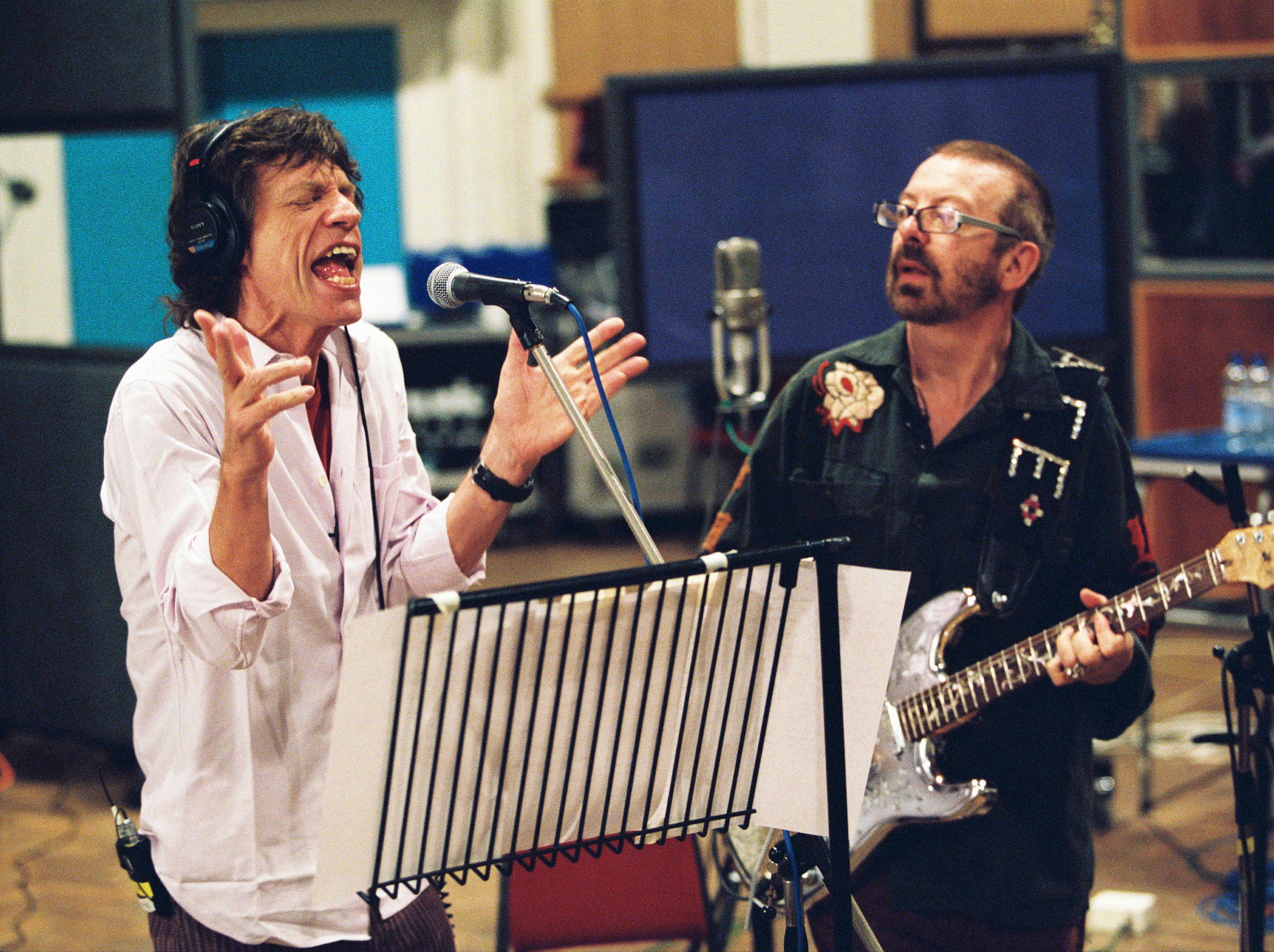 (Left to right) Mick Jagger and Dave Stewart recording the soundtrack for the motion picture Alfie --- DATE TAKEN: Rec'd 10/04  By Claude Gassian   Paramount Pictures        HO      - handout   ORG XMIT: ZX27532