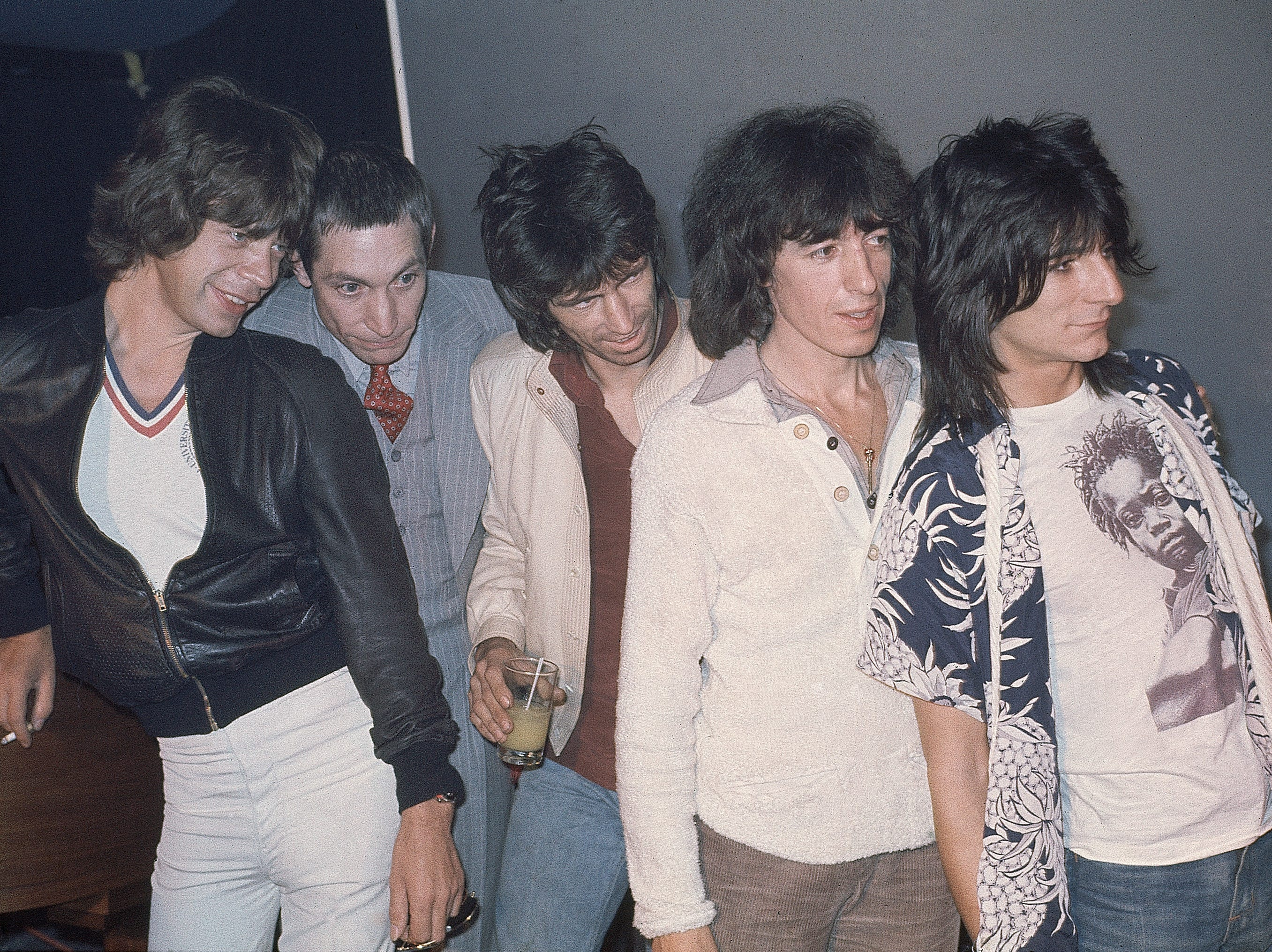 British pop group the Rolling Stones at Trax Club in New York City, N.Y., Sept. 23, 1977, to promote their new album. From left to right; Mick Jagger, Charlie Watts, Keith Richards, Bill Wyman and Ron Wood. (AP Photo)