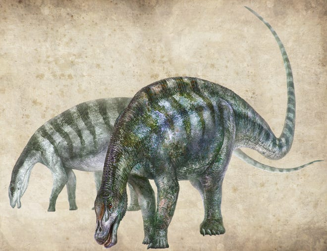 An artist's rendering of Lingwulong shenqi, a new species of dinosaur discovered in China.