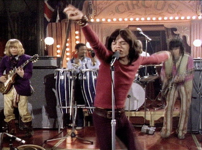The Rolling Stones (Brian Jones, unidentified, Mick Jagger, Charlie Watts and Keith Richards) in a scene from the motion picture The Rolling Stones Rock and Roll Circus --- DATE TAKEN: Rec'd 10/04  No Byline   Abkco Music & Records Inc.        HO      - handout   ORG XMIT: ZX27023