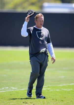 Oakland Raiders coach Jon Gruden during minicamp at the Raiders headquarters.