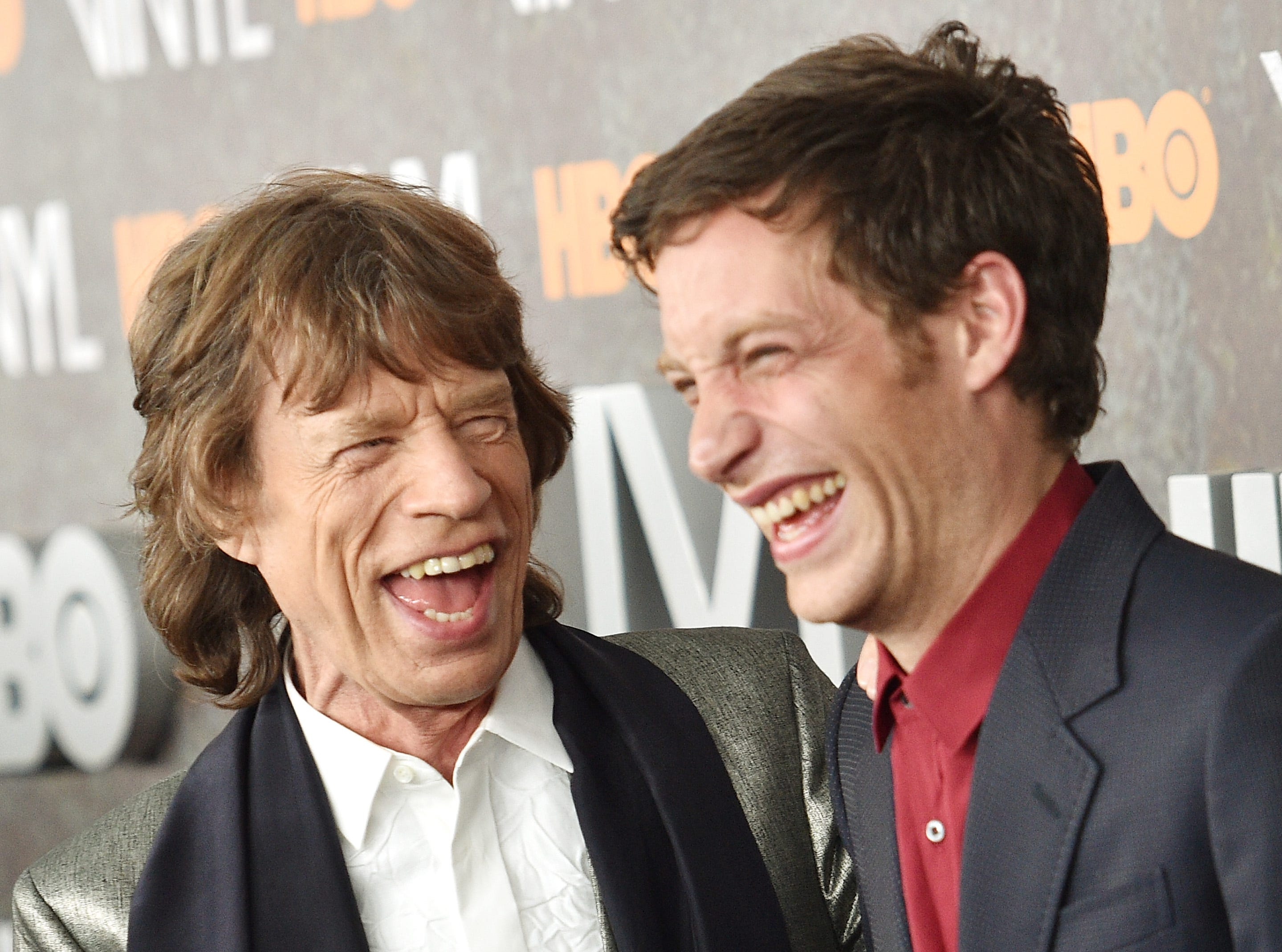 "NEW YORK, NEW YORK - JANUARY 15:  Mick Jagger (L) and James Jagger attends the New York premiere of ""Vinyl"" at Ziegfeld Theatre on January 15, 2016 in New York City.  (Photo by Dimitrios Kambouris/Getty Images)"
