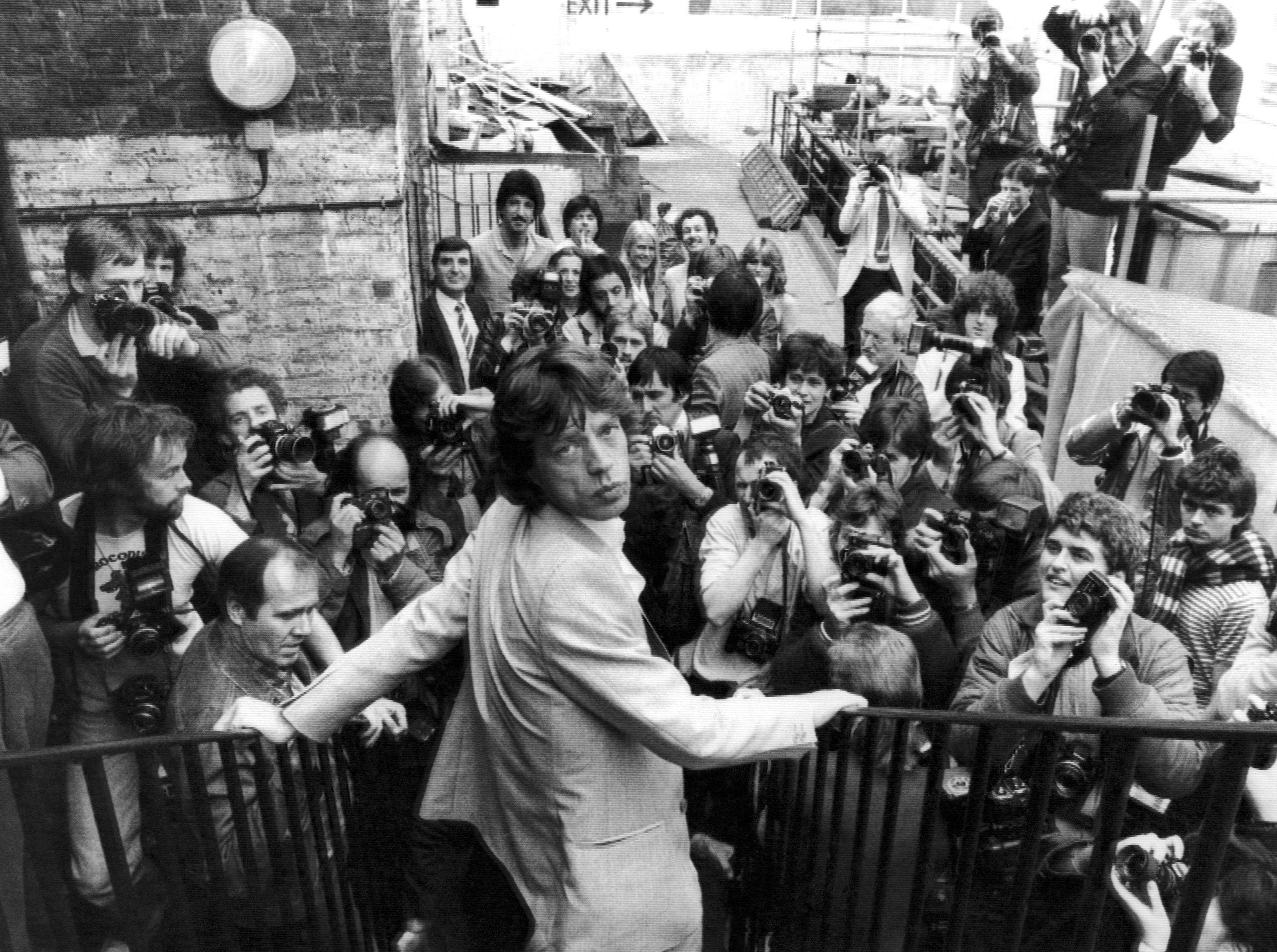 Mick Jagger of The Rolling Stones pop group, at the press conference at the La Beat Route Club in London's Soho district, England on April 28, 1982, when it was announced that the group will embark on their first European Tour in six years, starting in Rotterdam on June 4th. (AP Photo/Bob Dear)