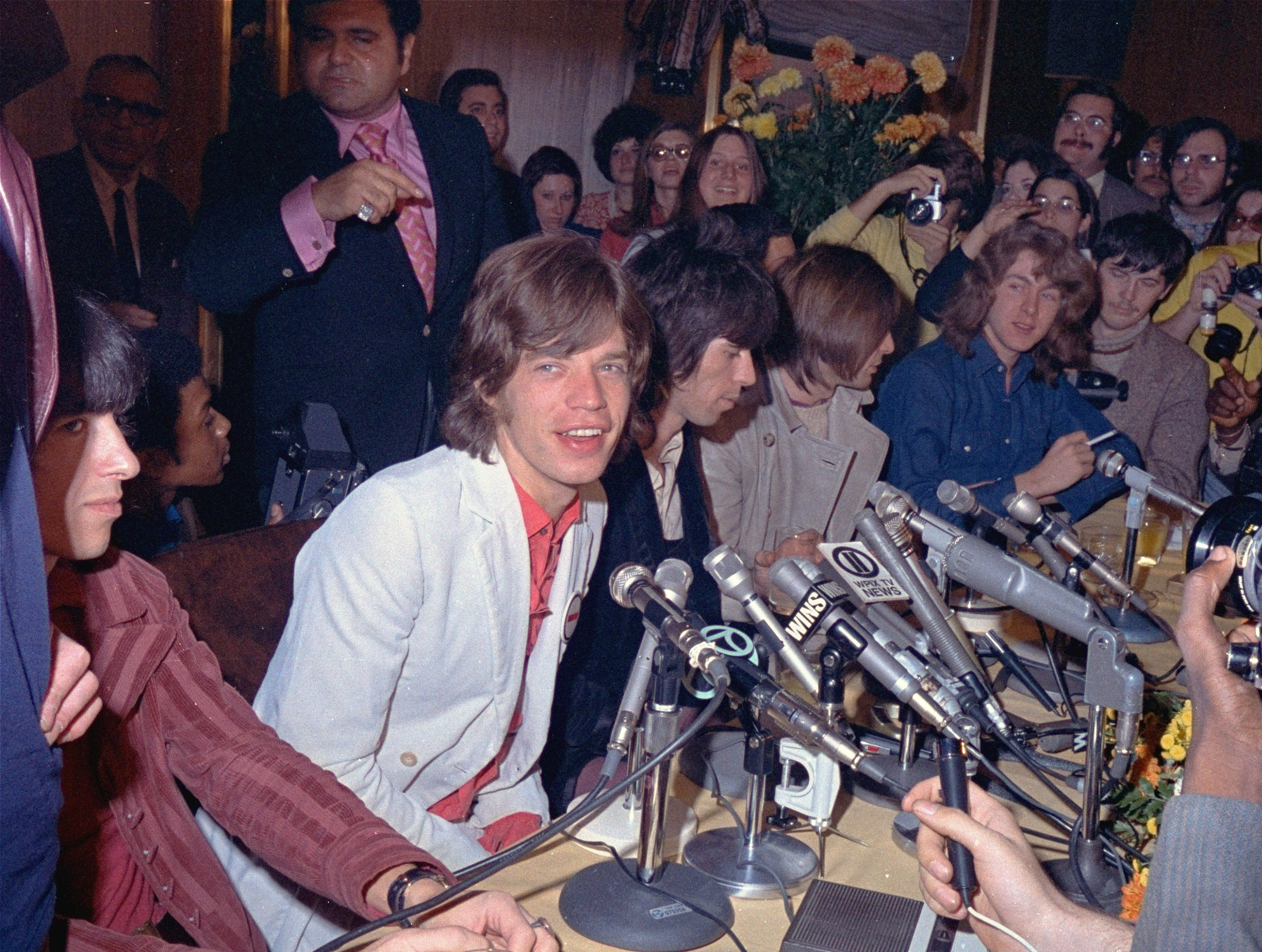 The Rolling Stones hold a news conference prior to their concert at Madison Square Garden, Nov. 26, 1969.  From left: Billy Wyman, bass, Mick Jagger, vocalist, Keith Richards, lead guitar, Charlie Watts, drums, and Mick Taylor, guitar. (AP Photo)