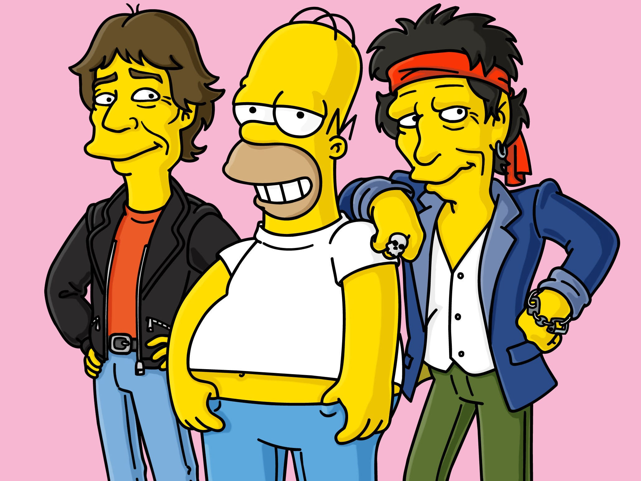 "THE SIMPSONS: LONG LIVE ROCK! Rock superstars guest voice on THE SIMPSONS season premiere episode ""How I Spent My Strummer Vacation""  Sunday, Nov. 10 (8:30-9:00 PM ET/PT) on FOX. L-R: Mick Jagger , Homer Simpson, and Keith Richards.  --- DATE TAKEN: Unavailable     ©2002FOX         HO      - handout ORG XMIT: PX88392"