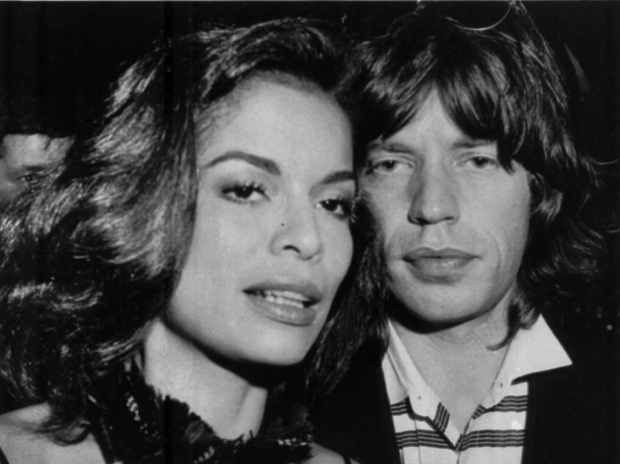 Bianca and Mick Jagger appear together in October 1976 at New York's Copacabana.  Lawyers for Bianca Jagger, Nicaraguan wife of the Rolling Stones lead singer, began divorce proceedings Monday, May 15, in London.  The couple have been married for seven years.  (AP Photo/str)