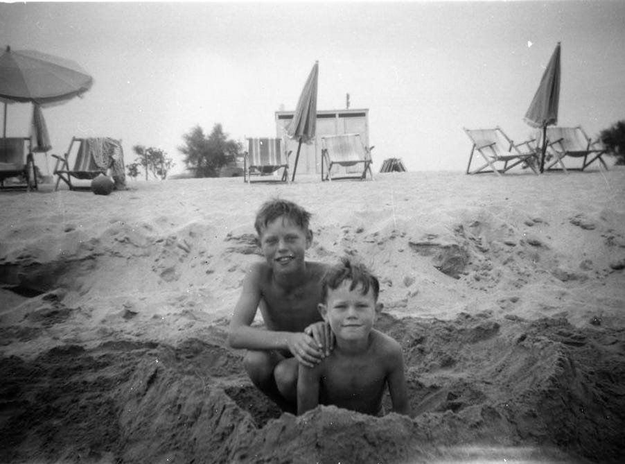 UNSPECIFIED LOCATION - CIRCA 1951: (EMBARGOED FOR PRINT USAGE UNTIL THURSDAY JULY 2ND 2015) Mick Jagger (left) aged 8, on a family holiday with his younger brother Chris (right) in 1951.  This previously unseen image will form part of The Rolling Stones - 'Exhibitionism' at Londons Saatchi Gallery.  Mick Jagger, Keith Richards, Charlie Watts and Ronnie Wood have opened their personal archives and found never before seen photographs of themselves as youngsters. These along with hundreds more rare and unseen images will create the first ever international Rolling Stones exhibition which will open at the Saatchi Gallery in April 2016. (Photo by Stones Archive/Getty Images) ORG XMIT: 561825389 ORIG FILE ID: 479111152