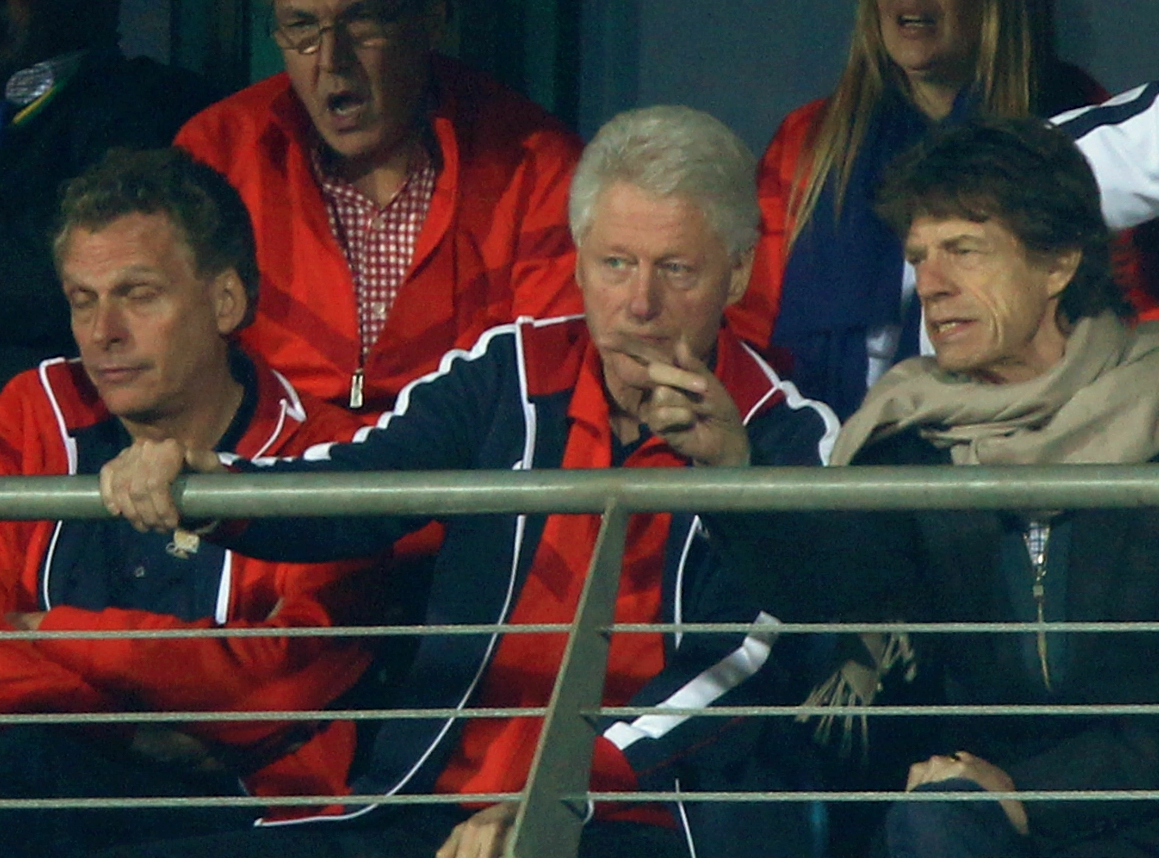 ORG XMIT: 98698388 RUSTENBURG, SOUTH AFRICA - JUNE 26:  Former US President Bill Clinton and Mick Jagger look on after watching USA lose the 2010 FIFA World Cup South Africa Round of Sixteen match between USA and Ghana at Royal Bafokeng Stadium on June 26, 2010 in Rustenburg, South Africa.  (Photo by Ian Walton/Getty Images) GTY ID: 98388BD028_USA_v_Ghana_2