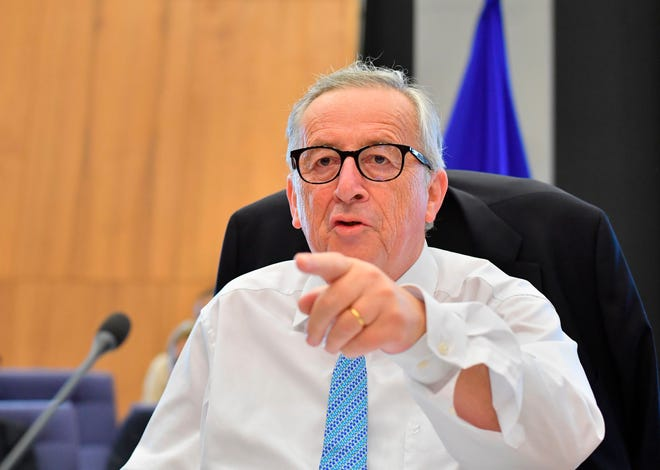 President of EU Commission Jean-Claude Juncker gestures ahead of a College Commissioners meeting at EU headquarters in Brussels on July 18, 2018.  / AFP PHOTO / JOHN THYSJOHN THYS/AFP/Getty Images ORIG FILE ID: AFP_17R6C3