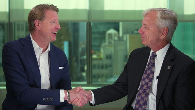 Hans Vestberg, Verizon's chief technology officer, at left, will succeed Verizon CEO Lowell McAdam, effective August 1, 2018. McAdam, 64, will retire, but serve as executive chairman of the board until the end of 2018 and then will become non-executive chairman.