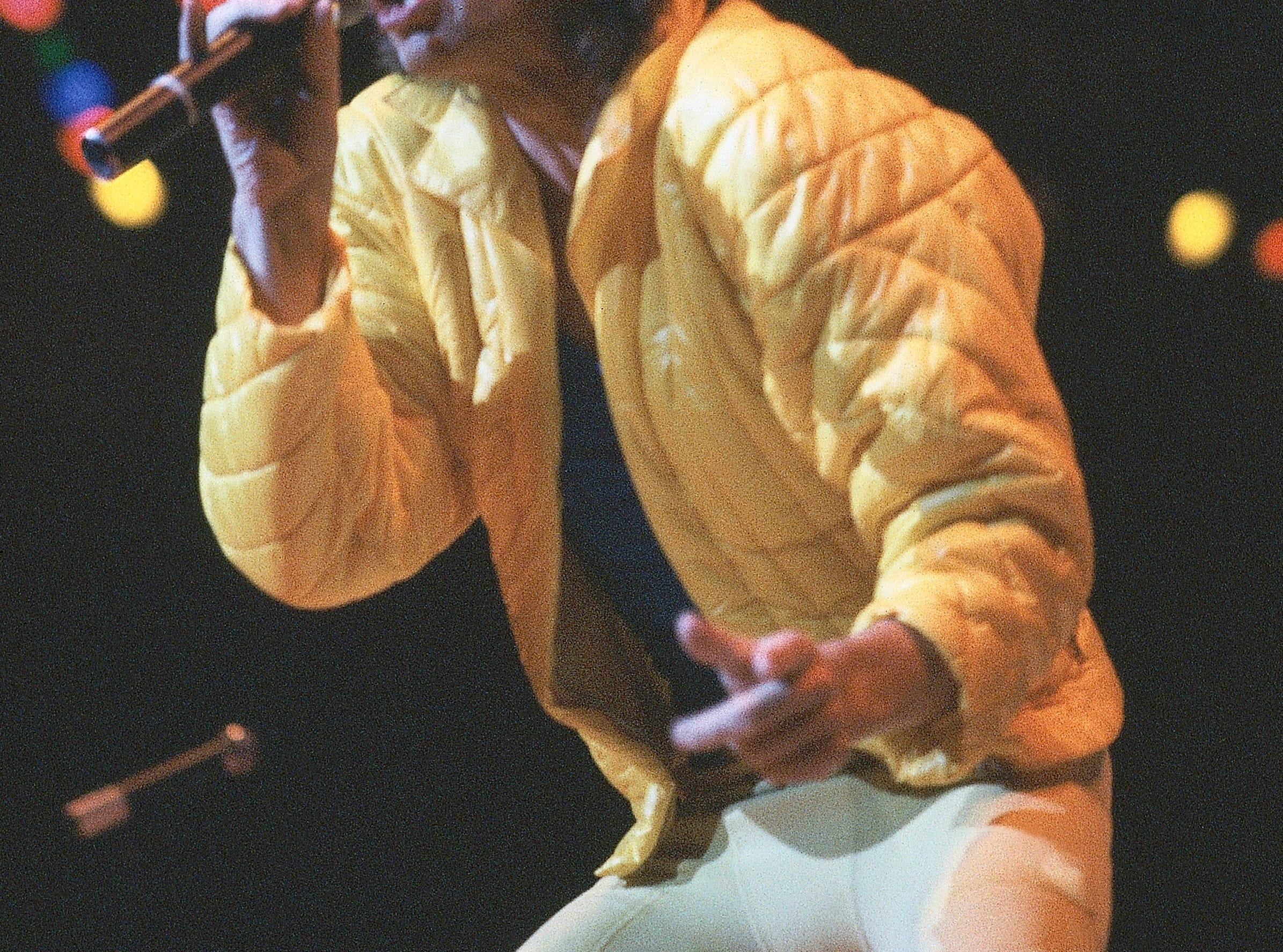 Mick Jagger performs with the Rolling Stones at their November 12, 1981 concert at Madison Square Garden in New York.    (AP Photo/Ray Stubblebine)