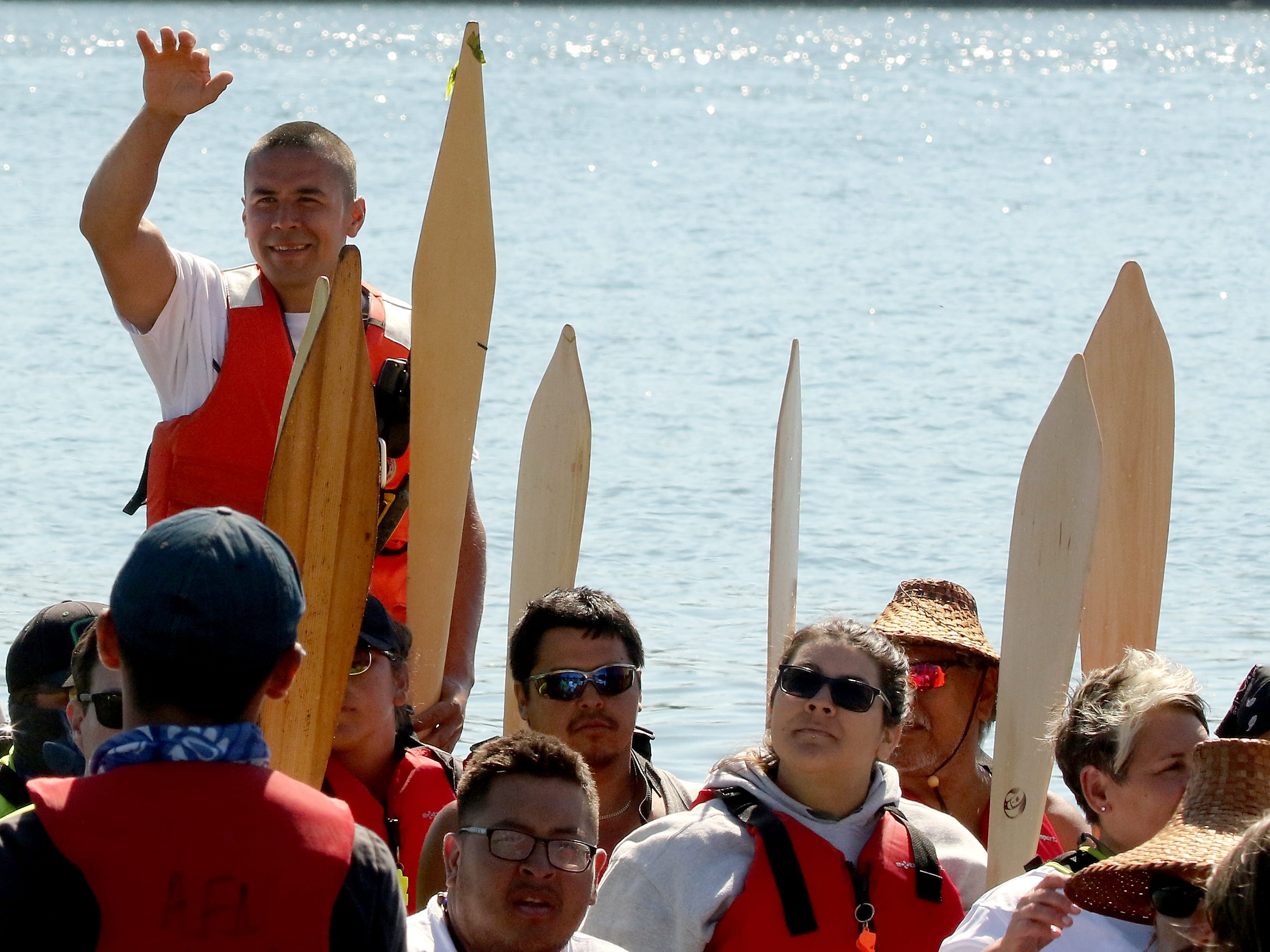 """Tribal Canoe Journey """"Paddle to Puyallup"""" lands at Point Julia on Tuesday, July 24, 2018."""