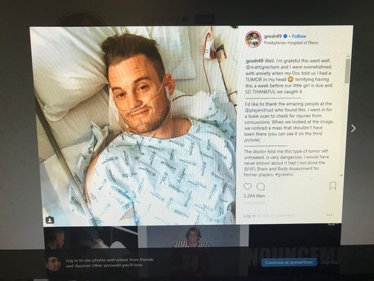 Ray High School graduate and former NFL player Clint Gresham announced on social media Wednesday that doctors had found a tumor in his head.