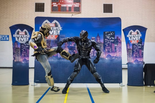 Kids enjoy a visit from the Marvel Universe Live team on Wednesday, July 25, 2018, at the Boys and Girls Club.