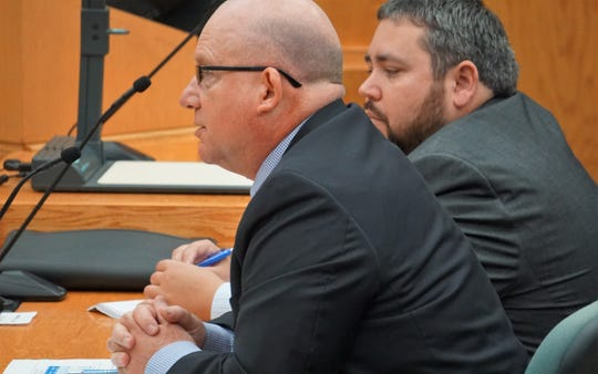 At left, Dan Grimsbo, executive director of Water Utilities for the city of Corpus Christi, addresses the city council on July 24, 2018 regarding the need for the city to diversify its water supply. Next to Grimsbo is Steve Ramos, the city's water resource manager.