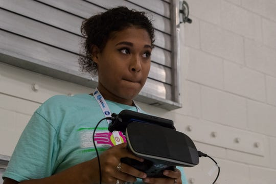 Jazmin Stokes flies a drone during Del Mar College's Smart Girlz Summer Coding Camp on Wednesday, July 25, 2018.