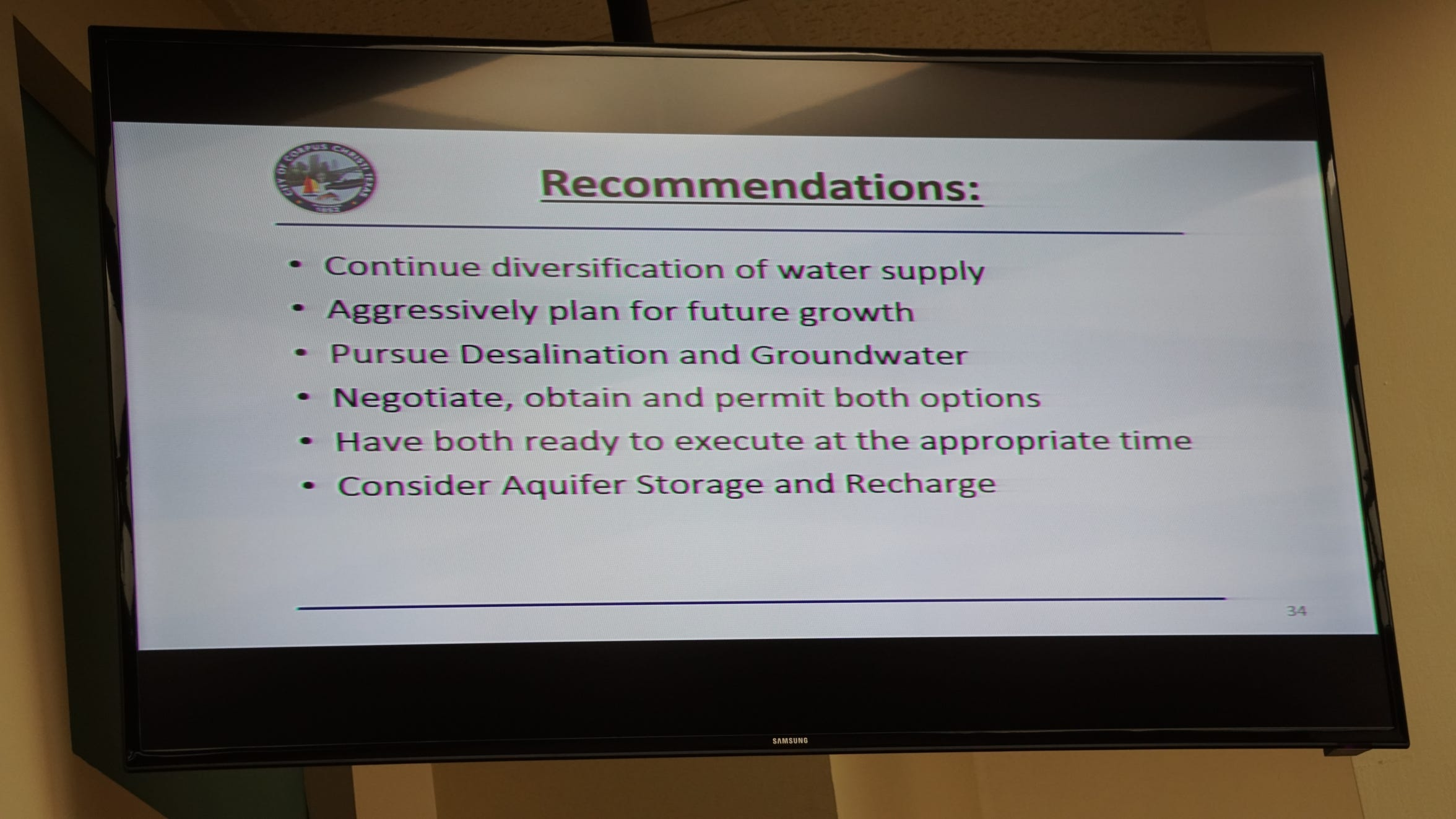 Pictured are recommendations made on July 24, 2018 for the city of Corpus Christi to pursue diversification of its existing water supply.